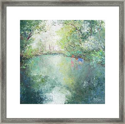 Playing At The Creek Framed Print by Jan Matson