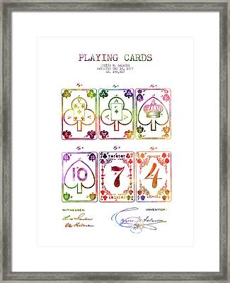 Playing Cards  Patent Drawing From 1877 - Rainbow Framed Print by Aged Pixel