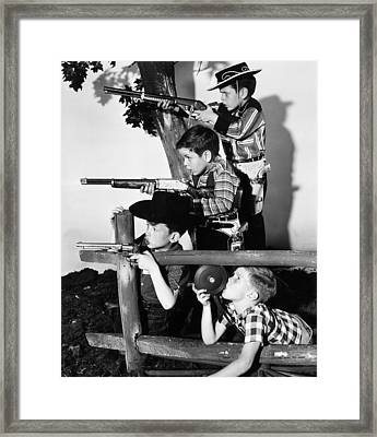 Playing Cowboys Framed Print by Archive Photos