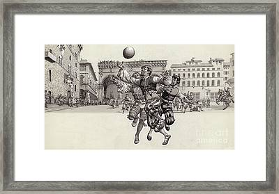 Playing Football In Florence  Framed Print