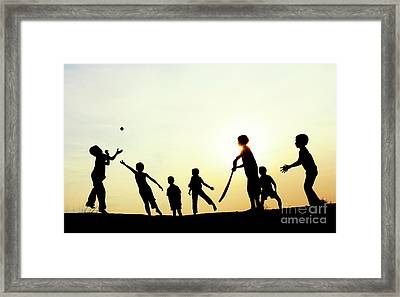 Playing French Cricket Framed Print