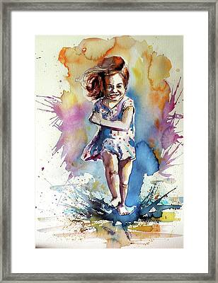 Framed Print featuring the painting Playing Girl by Kovacs Anna Brigitta