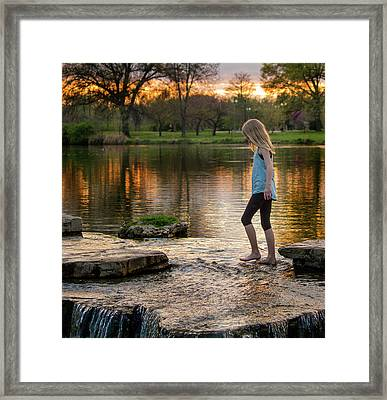 Playing In A Riffle At Forest Park Framed Print