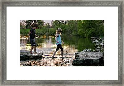 Playing In The Riffles At Forest Park Framed Print