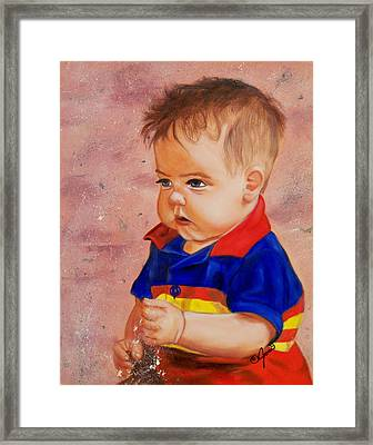 Playing In The Sand Framed Print by Joni McPherson