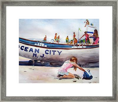 Playing In The Sand Framed Print by Judith Scull