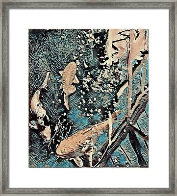 Framed Print featuring the digital art Playing It Koi by Mindy Newman
