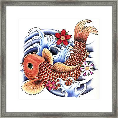 Playing Koi Framed Print by Maria Arango