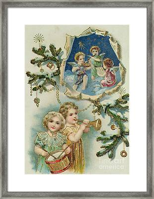 Playing Musical Instruments, Victorian Christmas Card Framed Print