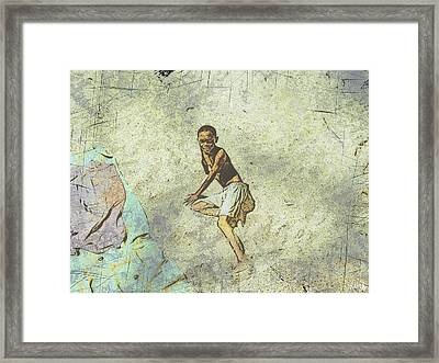 Playing On The Beach Framed Print by Jan Hattingh