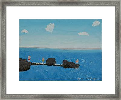 Playing On The Pier Framed Print by Harris Gulko