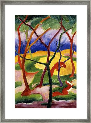 Playing Weasels Framed Print by Franz Marc