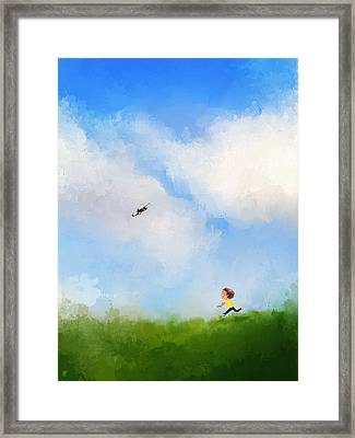 Playing With Flying Drone Framed Print