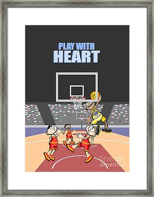 Playing With Heart The Basketball Player Jumps To The Board Framed Print