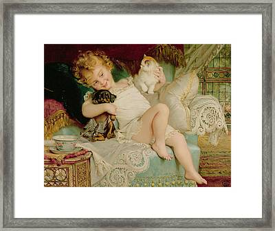 Playmates Framed Print by Emile Munier