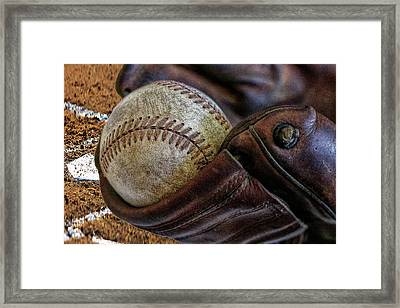 Plays At Home Plate Framed Print