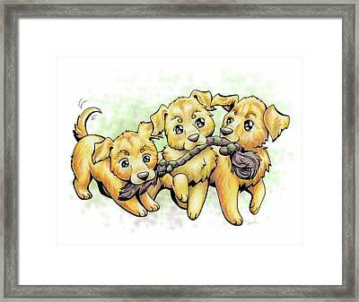 Playtime Golden Retriever Framed Print