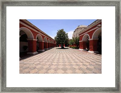 Framed Print featuring the photograph Plaza At Santa Catalina Monastery by Aidan Moran