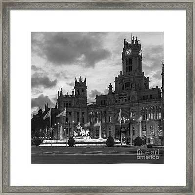 Plaza De Cibeles Fountain Madrid Spain Framed Print