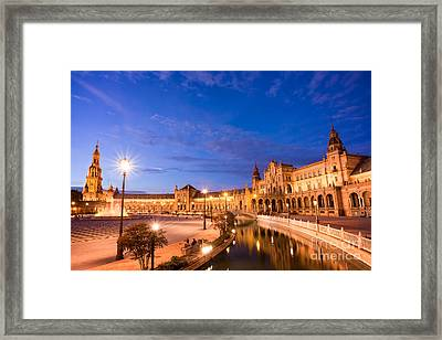 Plaza De Espana At Night Framed Print by Delphimages Photo Creations