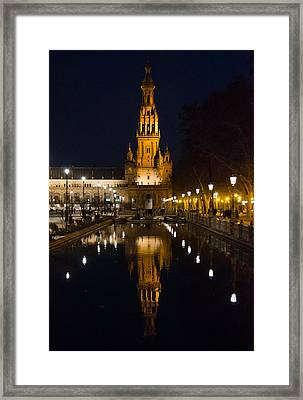 Plaza De Espana At Night - Seville 6 Framed Print