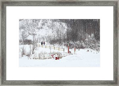 Pleasant Hike In Snow Framed Print by Charline Xia