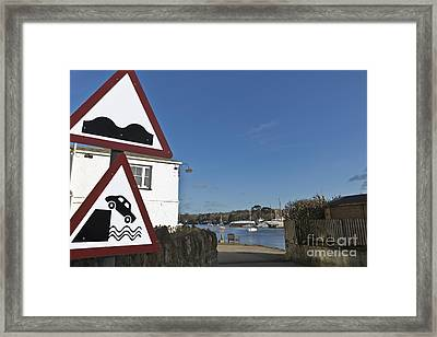 Please Drive Carefully In Mylor Bridge Framed Print by Terri Waters