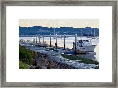 Pleasure Boat Dock Oil Framed Print by Barbara Snyder