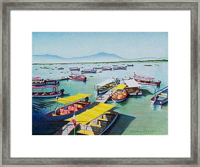 Pleasure Boats On Lake Chapala Framed Print by Constance Drescher