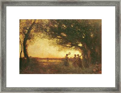 Pleasures Of The Evening Framed Print by Jean Baptiste Camille Corot