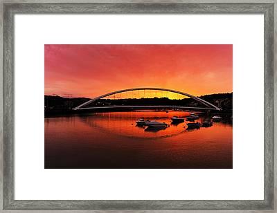 Plentzia Bridge At Sunset Framed Print by Mikel Martinez de Osaba