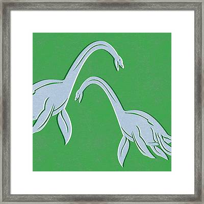 Plesiosaurus Framed Print by Linda Woods