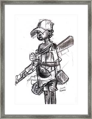 Plight Of A Child Soldier Framed Print by Okwir Isaac