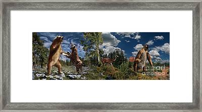 Pliocene - Pleistocene Mural 2 Framed Print by Julius Csotonyi