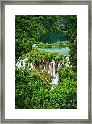 Plitvice Lakes National Park - A Heavenly Crystal Clear Waterfall Vista, Croatia Framed Print
