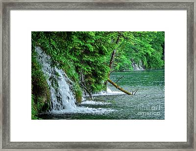 Plitvice Lakes National Park, Croatia - The Intersection Of Upper And Lower Lakes Framed Print