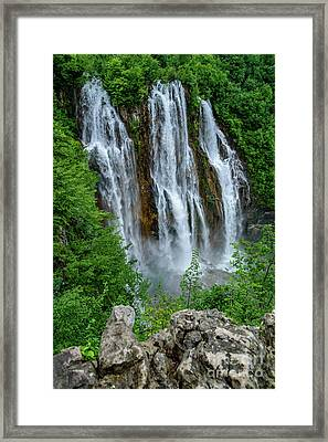 Plitvice Lakes Waterfall - A Balkan Wonder In Croatia Framed Print