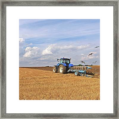 Ploughing After The Harvest - Square Framed Print by Gill Billington