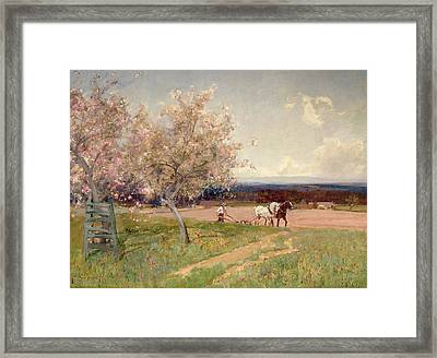 Ploughing Framed Print by Sir Alfred East