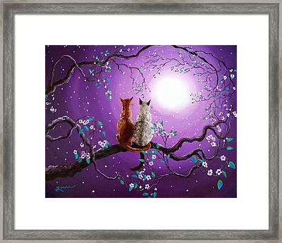 Plum Blossoms In Pale Moonlight Framed Print by Laura Iverson