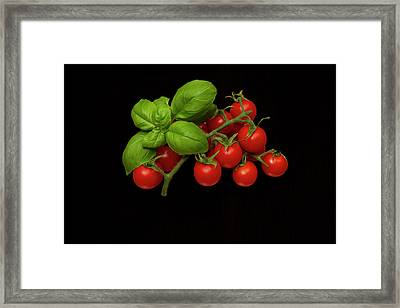 Framed Print featuring the photograph Plum Cherry Tomatoes Basil by David French