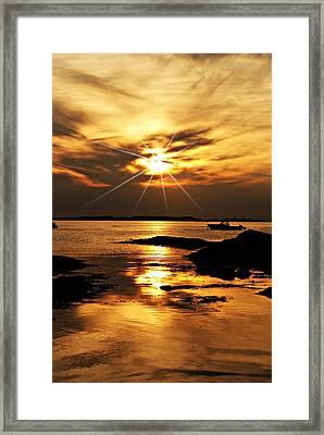 Plum Cove Beach Sunset E Framed Print