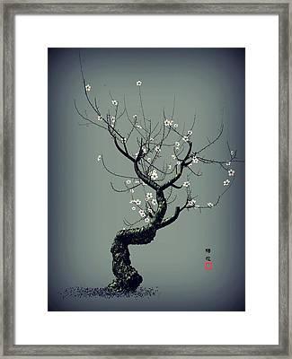 Plum Flower Framed Print by GuoJun Pan
