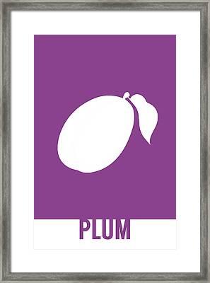 Plum Food Art Minimalist Fruit Poster Series 014 Framed Print by Design Turnpike