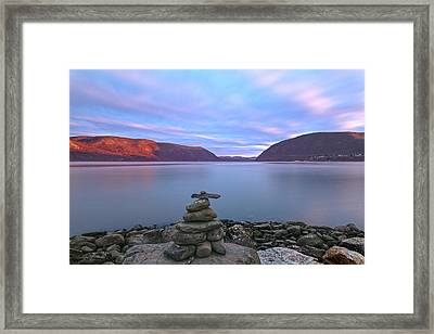 Plum  Point Rock Cairn At Sunset Framed Print by Angelo Marcialis