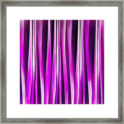 Plum Purple And Burgundy Stripy Lines Pattern Framed Print