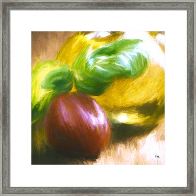 Plum Tomatoes Basil And Olive Oil Framed Print