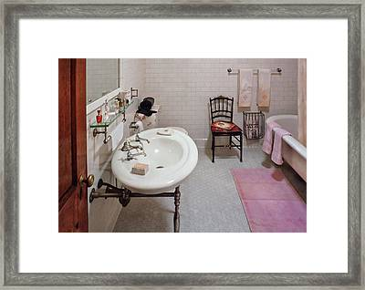 Plumber - The Bathroom  Framed Print by Mike Savad