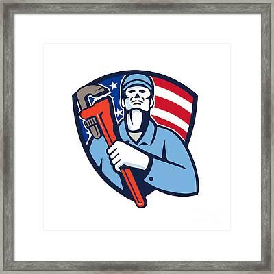 Plumber Holding Wrench Usa Flag Shield Retro Framed Print by Aloysius Patrimonio