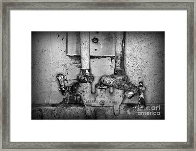 Plumbing Hot And Cold Water In Black And White Framed Print by Paul Ward